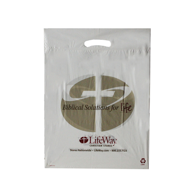 LDPE White Fold over Side Sealed Die Cut Bag